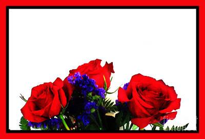 Purple Flowers Digital Art - Three Red Roses by Marsha Heiken
