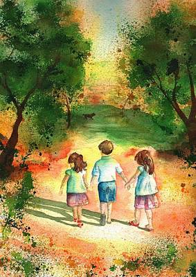 Children Painting - Three S Company by Sharon Mick