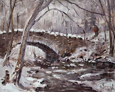 Snow . Bridge Painting - Three Sister's Islands Bridge by Ylli Haruni