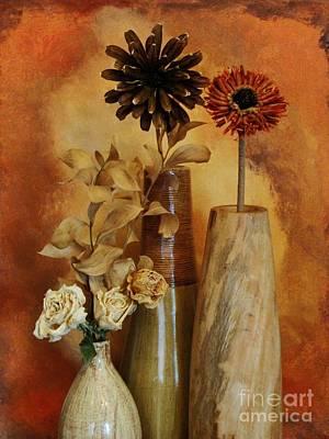 Three Vases Of Dried Flowers Print by Marsha Heiken