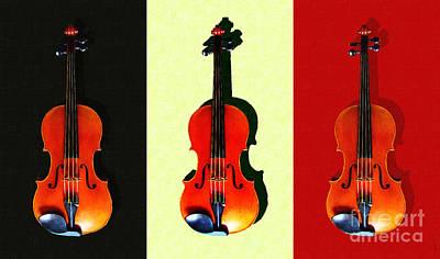 Viola Digital Art - Three Violins . Painterly by Wingsdomain Art and Photography
