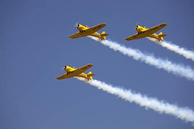 Three Yellow Harvards Flying In Unison Print by Pete Ryan