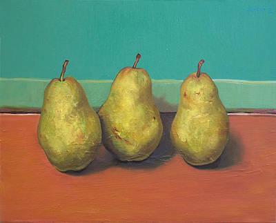 Three Yellow Pears With Green Wall Print by Yuki Komura