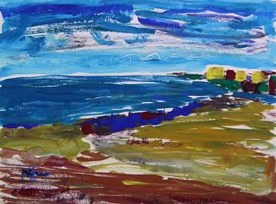 Seacoast Drawing - Three Yellow Roofs by Mary Carol Williams