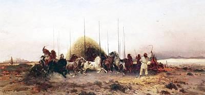 Threshing Wheat In New Mexico Print by Thomas Moran