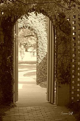 Pathway Digital Art - Through The Garden Gate In Sepia by Suzanne Gaff