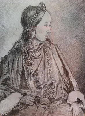 Tibetan Woman Print by Gloria Avner