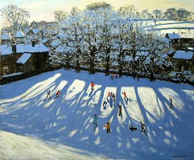 Snowball Fights Painting - Tideswell Derbyshire by Andrew Macara