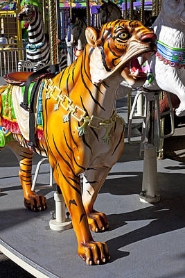 Antique Carousel Photograph - Tiger Carousel Ride by Garry Gay