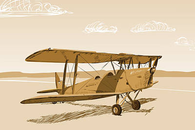 Tiger Moth Old Style Print by Netta Canfi