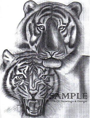 Tattoo Stencils Drawing - Tigers by Rick Hill