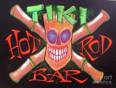 Pinstripes Painting - Tiki Hot Rod Bar by Alan Johnson