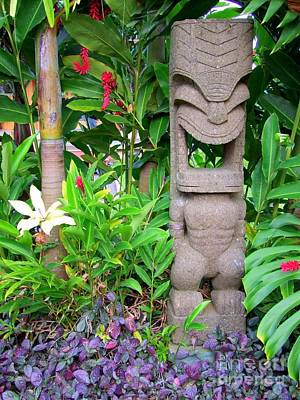 Tiki In The Garden Print by Mary Deal