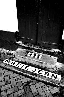 Tile Inlay Steps Marie Jean 435 French Quarter New Orleans Black And White Conte Crayon Digital Art  Print by Shawn O'Brien