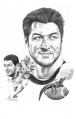 Denver Drawing - Tim Tebow-tim Tebow by Murphy Elliott