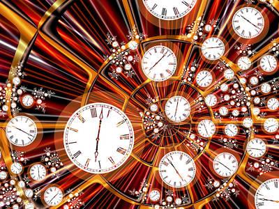 Fractal Digital Art - Time Flies When You're Having Fun by Pam Blackstone
