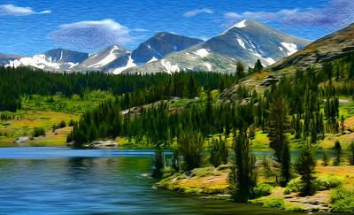 Yosemite National Park Mixed Media - Tioga Lake Frank Lee Hawkins by Frank Lee Hawkins Eastern Sierra Gallery