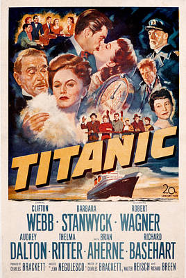 Titanic, Clifton Webb, Barbara Print by Everett