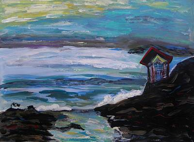 Seacoast Drawing - To Watch Beautiful Seas And Skies by Mary Carol Williams