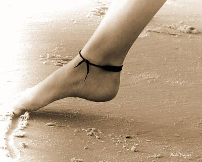 Toes In The Sand Print by Nada Frazier