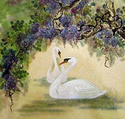 Watercolor Wisteria Painting - Together Forever by Rayne Van Sing