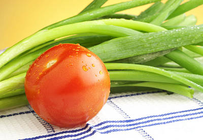 Tomato And Green Onions Print by Blink Images