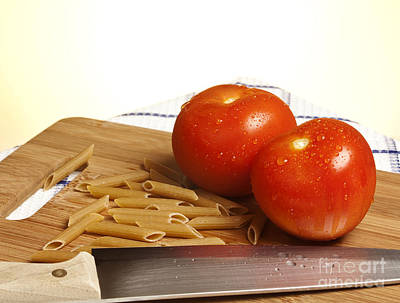 Table Cloth Photograph - Tomatoes Pasta And Knife by Blink Images