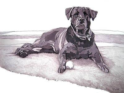 Black Labrador Drawing - Tonka by Tyler Auman