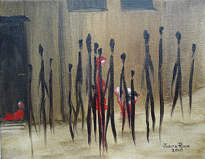 Refugee Artist Painting - Too Busy To Notice by Judith Rhue