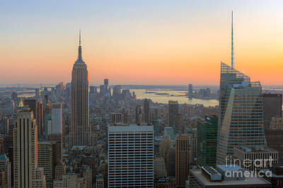 New York City Skyline Photograph - Top Of The Rock Sunset I by Clarence Holmes