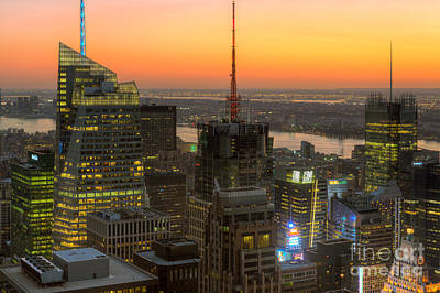 Times Square Photograph - Top Of The Rock Twilight Ix by Clarence Holmes
