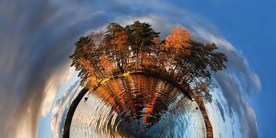 Circles Digital Art - Top Of The World Lake Vuoksa Planet-rise by Nikki Marie Smith