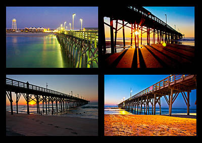 Topsail Piers At Sunrise Print by Betsy C Knapp