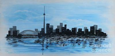 Water Tower Place Painting - Toronto Cn Tower by Monika Shepherdson