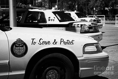 Toronto Police Squad Cars Outside Police Station In Downtown Toronto Ontario Canada Print by Joe Fox