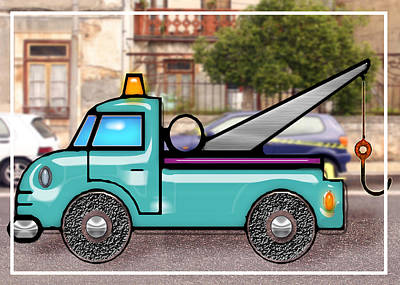 Education Painting - Tough Tow Truck In Street by Elaine Plesser