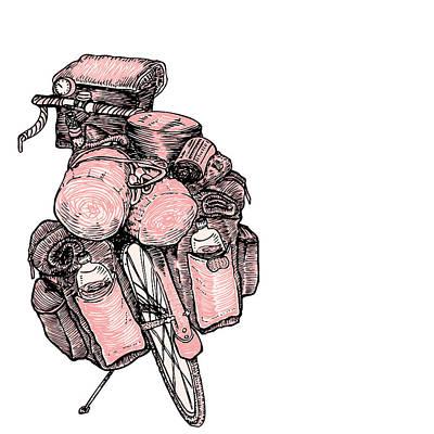 Wheel Drawing - Touring Bicycle by Karl Addison