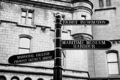 Tourist Information Signs Directions Street Aberdeen Scotland Uk Print by Joe Fox