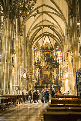 Tourists At Altar Of Stephansdom Print by Greg Elms