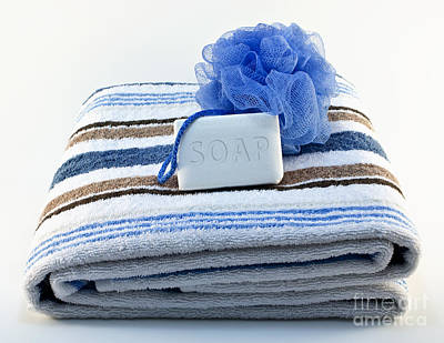 Towel With Soap And Sponge Print by Blink Images