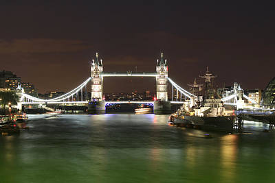 Warships Photograph - Tower Bridge And Hms Belfast At Night by Jasna Buncic