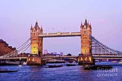 Gothic Bridge Photograph - Tower Bridge In London At Dusk by Elena Elisseeva