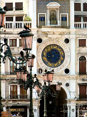 Tower Clock In Saint Mark's Square Print by Susan Holsan
