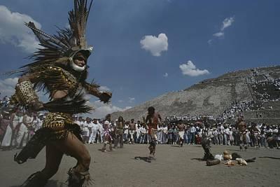Traditional Dancing At The Pyramid Print by Kenneth Garrett