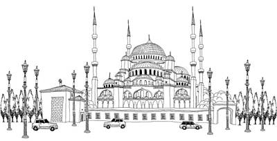 Building Exterior Digital Art - Traffic By Mosque by Eastnine Inc.