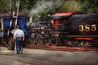 Locomotive Photograph - Train - Steam - The Conductors Job  by Mike Savad