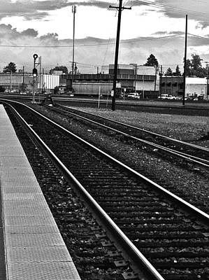 Textures Photograph - train tracks - Black and White by Bill Owen