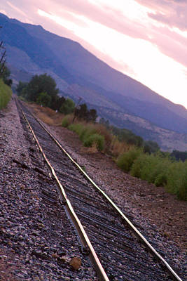 Train Tracks Photograph - Train Tracks Strait Line Sunset by James BO  Insogna