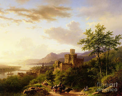 Estuary Painting - Travellers On A Path In An Extensive Rhineland Landscape by Barend Cornelis Koekkoek