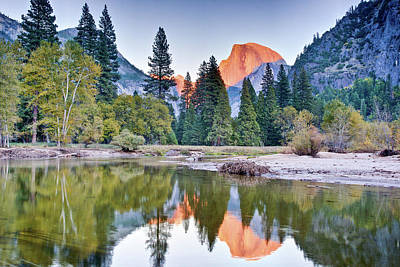 Trees And Mountain Reflection In River Print by Inspirational Images by Ken Hornbrook